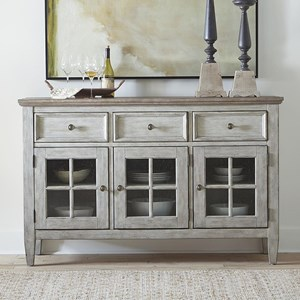 Transitional Two-Toned Server with Adjustable Shelves