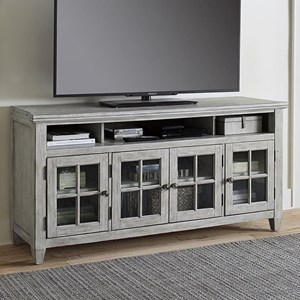 Transitional Entertainment TV Stand with Glass Doors