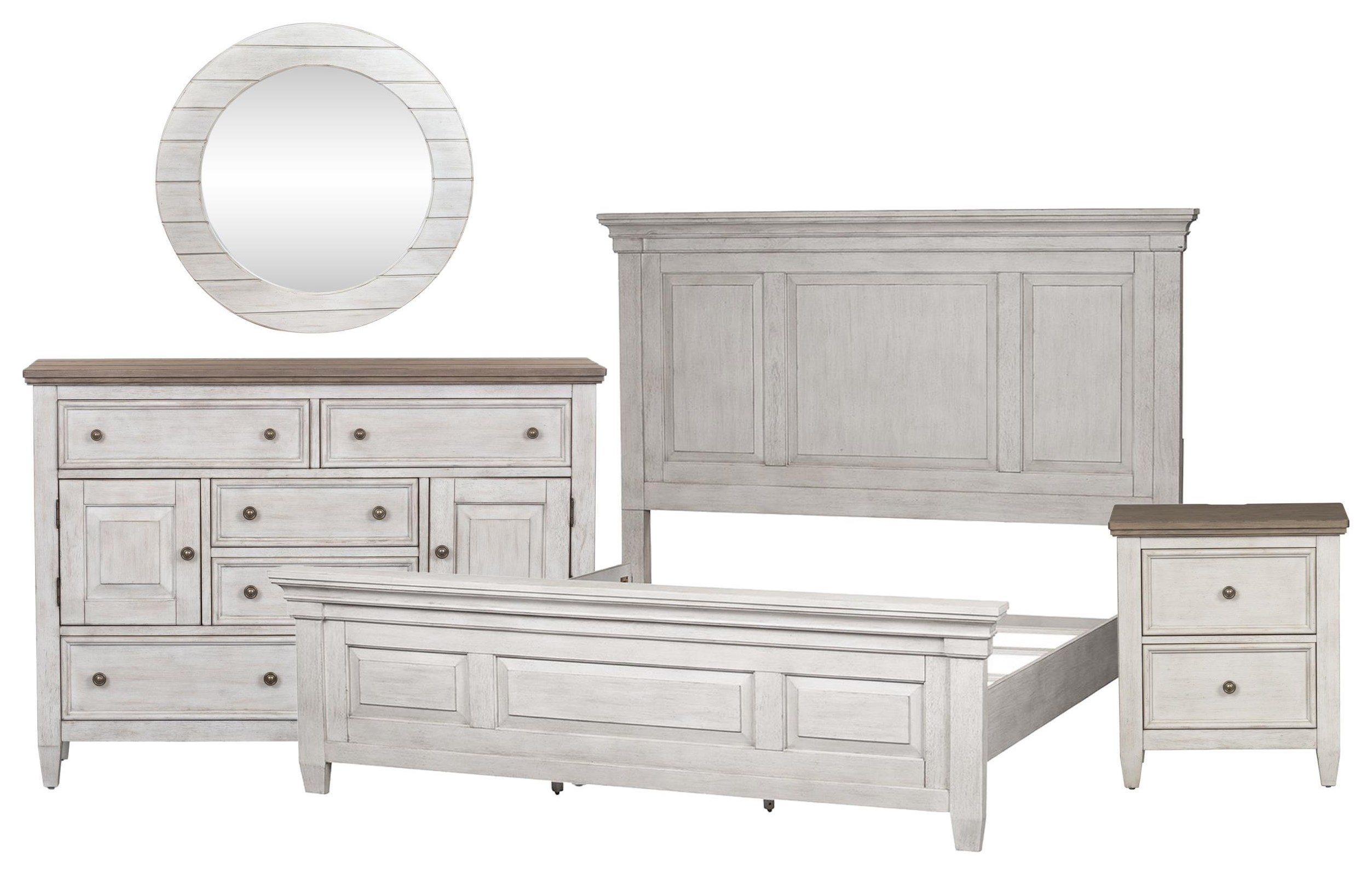 Heartland Queen Panel Bed, Chesser, Mirror, Nightstand by Liberty Furniture at Johnny Janosik