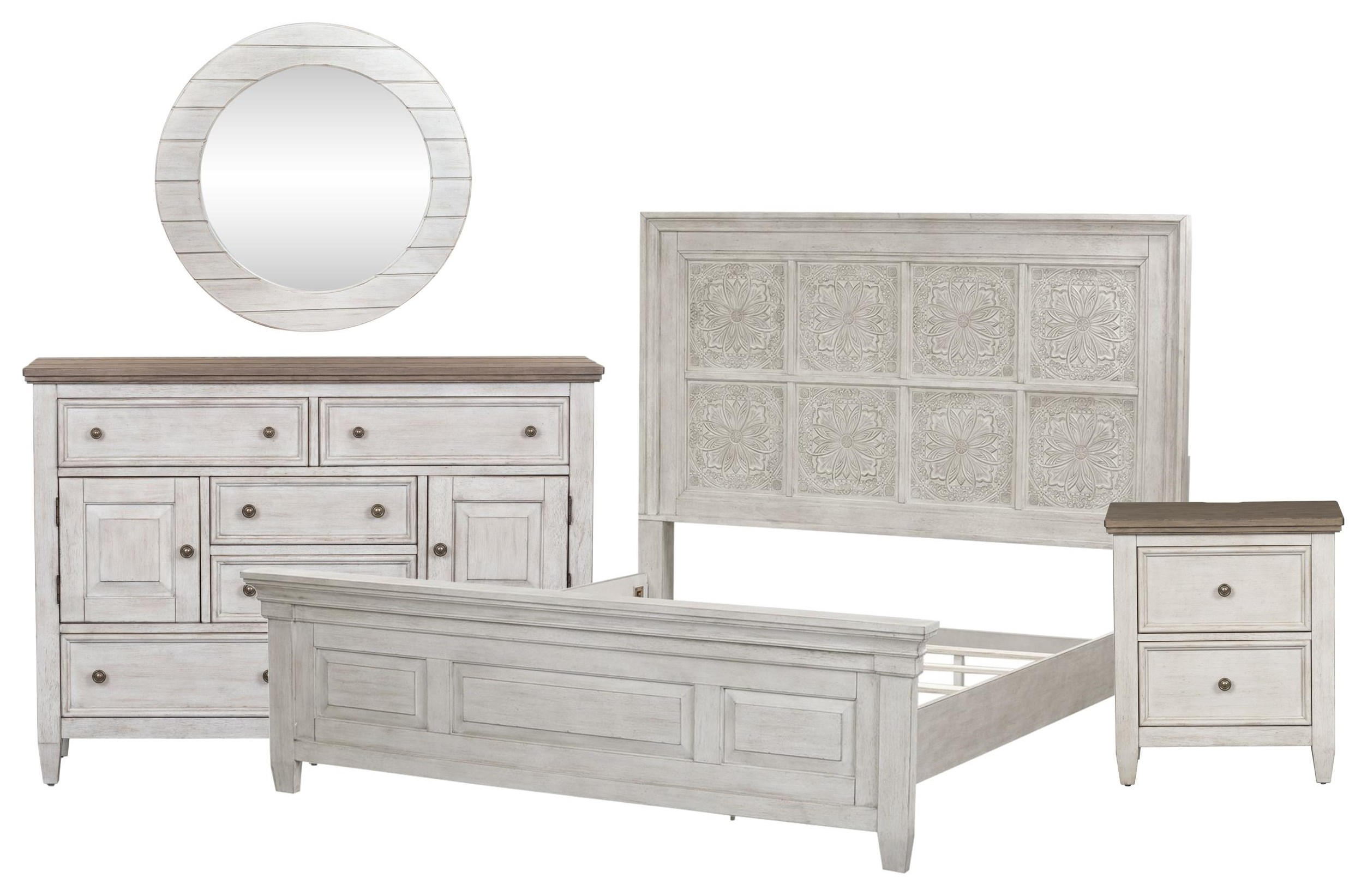 Heartland King Panel Bed, Chesser, Mirror, Nightstand by Liberty Furniture at Johnny Janosik