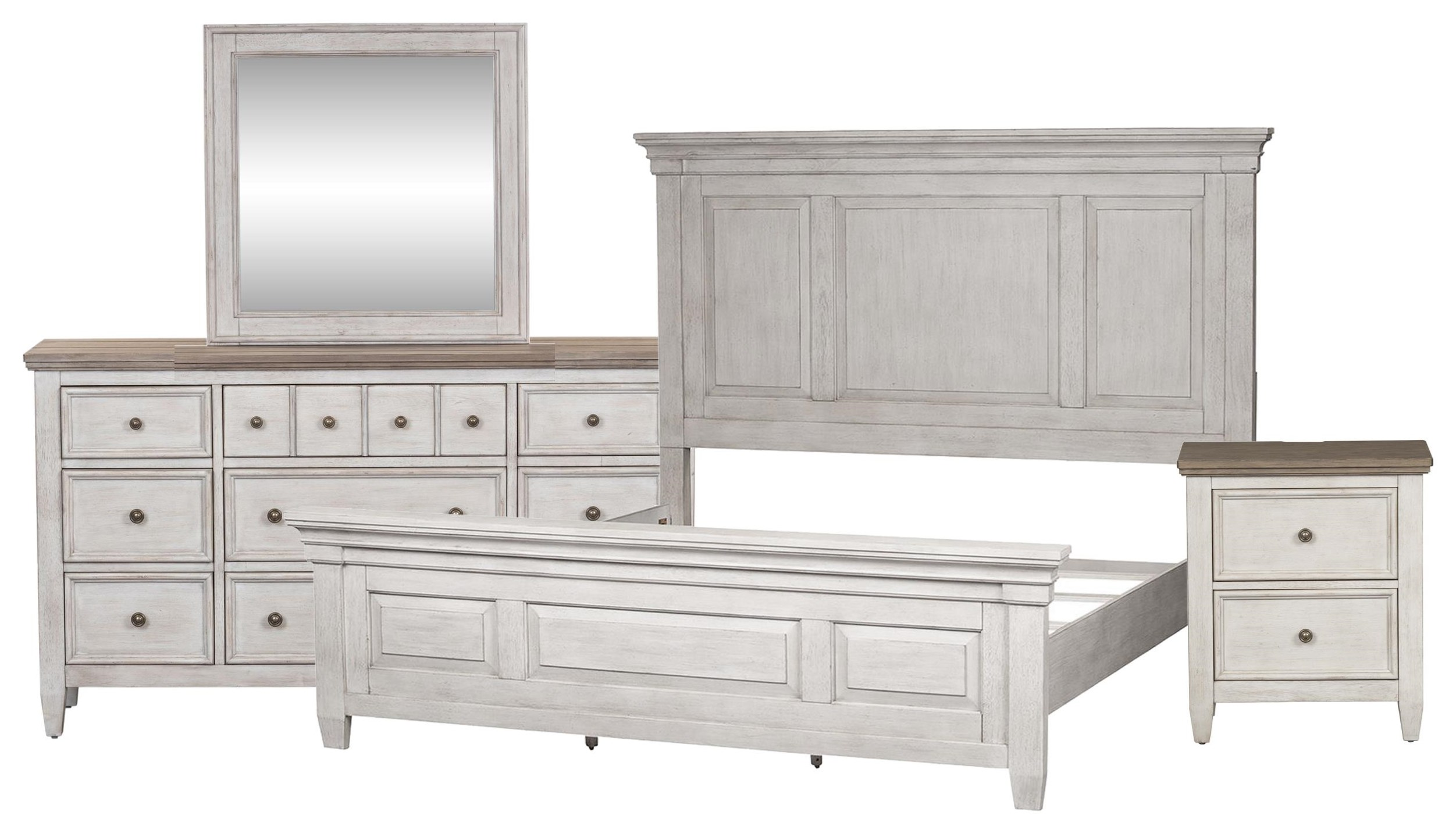 Heartland King Panel Bed, Dresser, Mirror, Nightstand by Liberty Furniture at Johnny Janosik