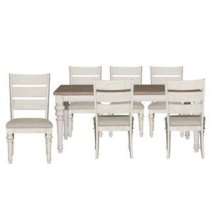 Rectangle Table and Ladder Back Chairs