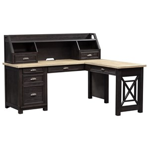 Transitional L Shaped Desk with Hutch