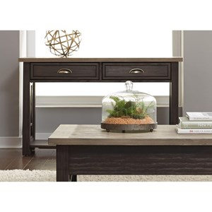 Transitional 2 Drawer Sofa Table with Fully Stained Interior Drawers