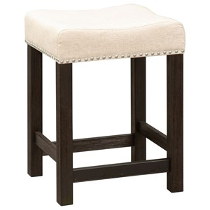 Transitional Upholstered Barstool with Nailhead Trim