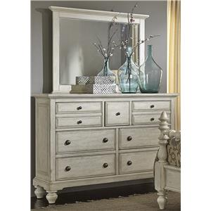 Transitional 7 Drawer Chesser and Mirror