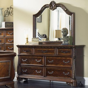 Traditional 7 Drawer Dresser and Mirror Set