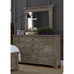7 Drawer Dresser & Mirror with Wood Frame