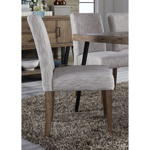 Contemporary Upholstered Dining Side Chair with Cream Linen Fabric