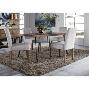 Contemporary Dining Table and Upholstered Chair Set with Herringbone Parquet Pattern