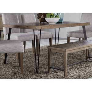 Contemporary Rectangular Leg Dining Table with Angled Metal Tube Legs