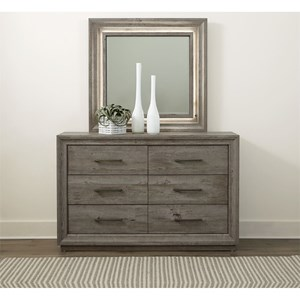 Contemporary Dresser & Lighted Mirror