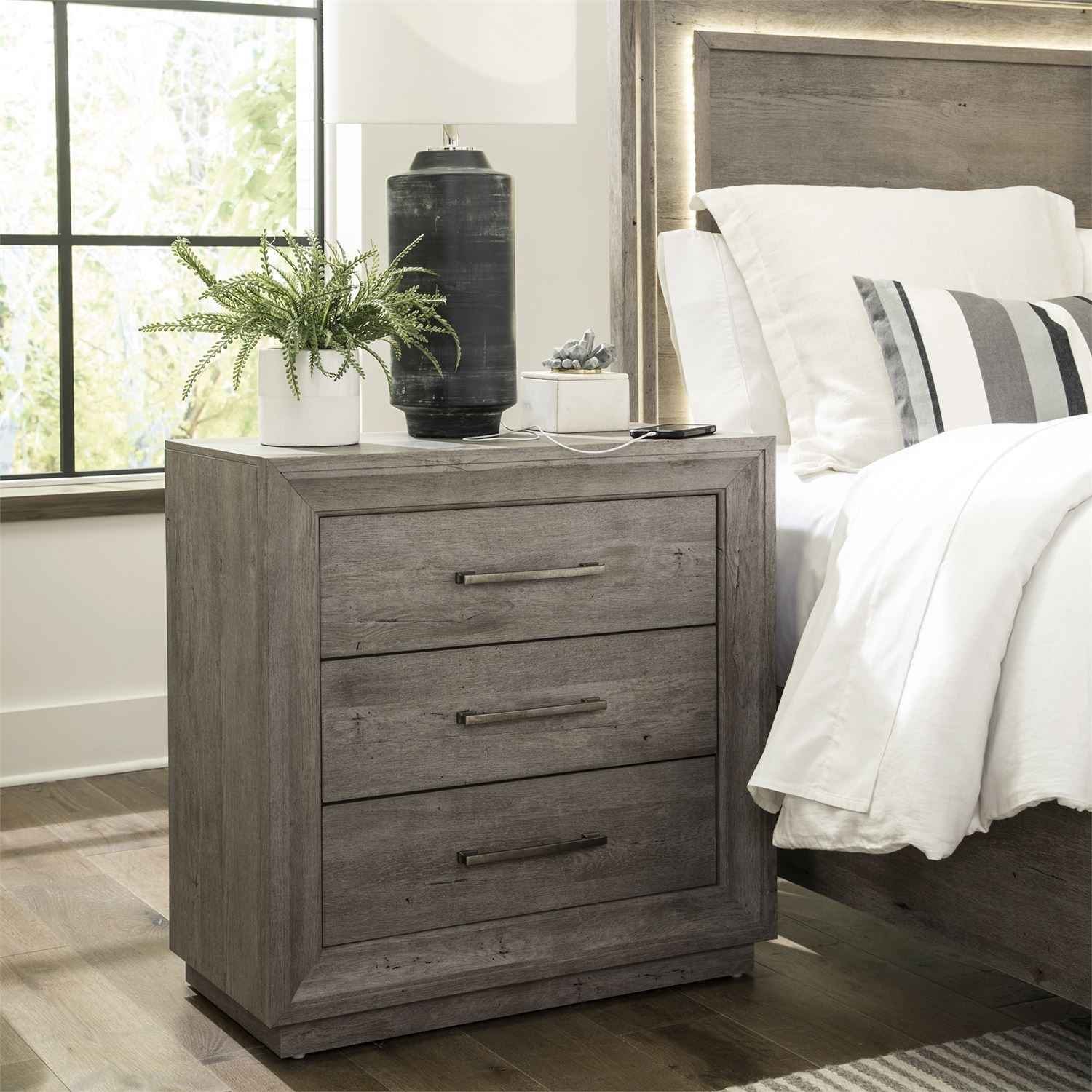 Horizons Bedside Chest with Charging Station by Libby at Walker's Furniture