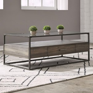 Contemporary Rectangular Cocktail Table with Drawer