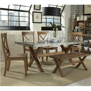 6 Piece Trestle Table and X-Back Side Chair Set with Backless Dining Bench