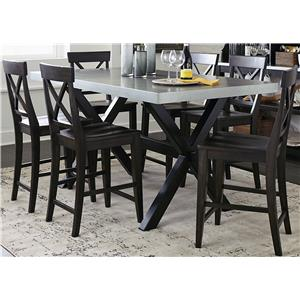 7 Piece Gathering Table Set with X-Back Side Chairs