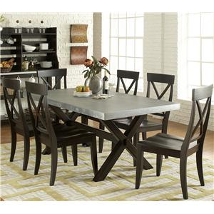 7 Piece Trestle Table and X-Back Side Chair Set