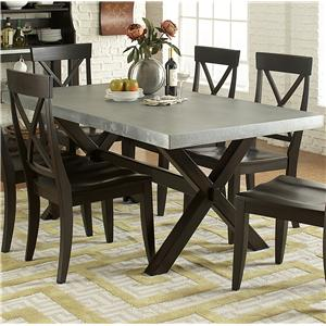 Rectangle Trestle Dining Table with Metal Top