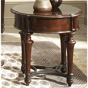 Round End Table with Metal Stretcher