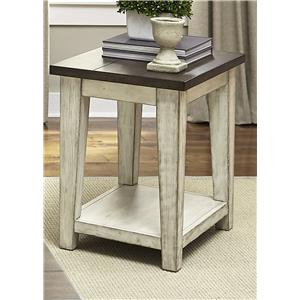Rustic End Table with Light Distressing