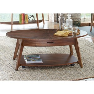 Oval Cocktail Table with Casters