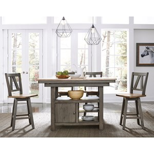 Transitional Two-Toned 5-Piece Gathering Table Set