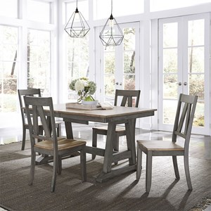 Transitional Two-Toned 5-Piece Trestle Table Set