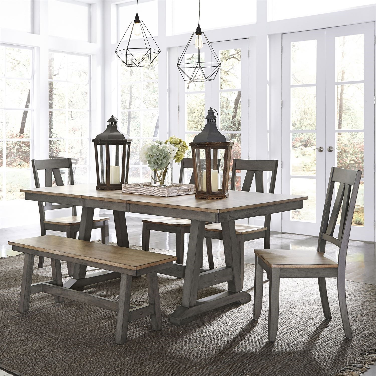 Lindsey Farm 6-Piece Trestle Table Set by Liberty Furniture at Northeast Factory Direct