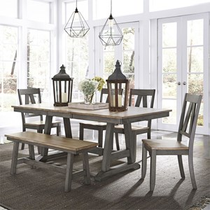 Transitional Two-Toned 6-Piece Trestle Table Set