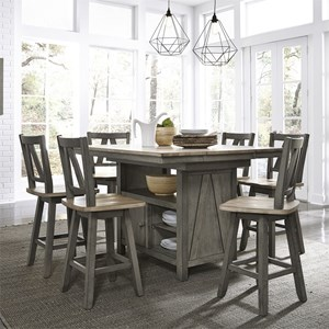 Transitional Two-Toned 7-Piece Gathering Table Set