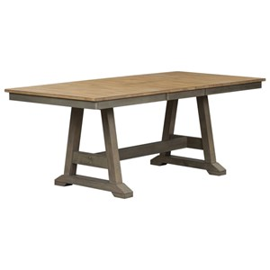 Transitional Two-Toned Trestle Table with Butterfly Leaf