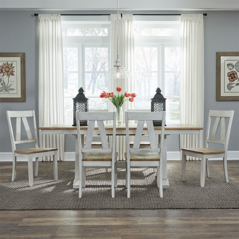 Lindsey Farm 7-Piece Trestle Table Set by Liberty Furniture at Johnny Janosik