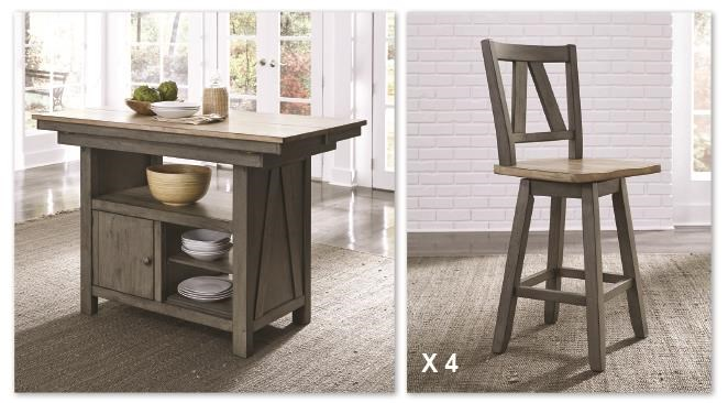 Lindsey Farm Island and 4 Stools by Liberty Furniture at Johnny Janosik