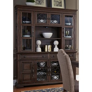 Traditional Buffet with Hutch with Open Metal Grid Doors