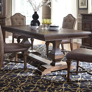 Traditional Double Pedestal Dining Table with Removable Leaf