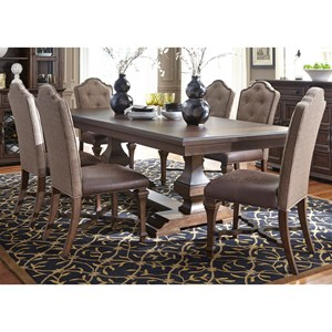Formal 7 Piece Two Pedestal Table and Upholstered Chair Set