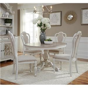 7PC Pedestal Dining Table & Chair Set