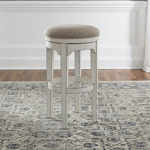 Cottage Style Swivel Barstool with Upholstered Seat