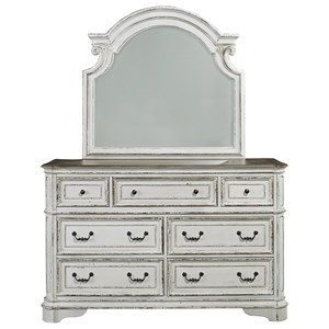 7 Drawer Dresser and Mirror with Wood Frame