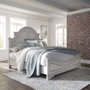 Cottage Style King Panel Bed with Distressed Finish