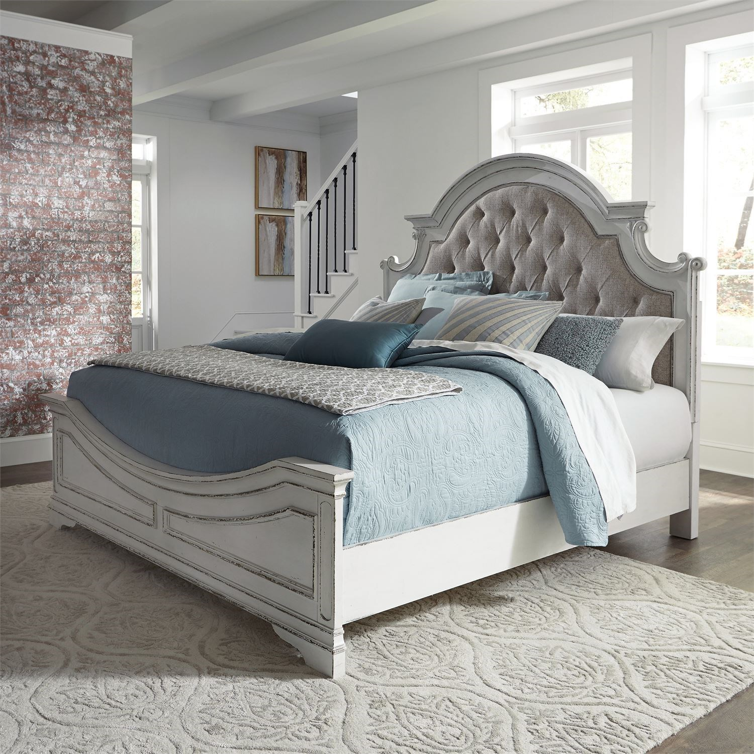 Morgan King Upholstered Bed by Libby at Walker's Furniture