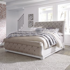Traditional King Upholstered Sleigh Bed with Button Tufted Head and Footboard