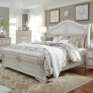 King Sleigh Bed with Antique White Finish