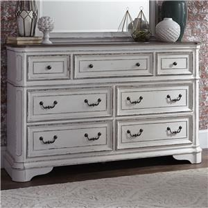 7 Drawer Dresser with Felt-Lined Top Drawers