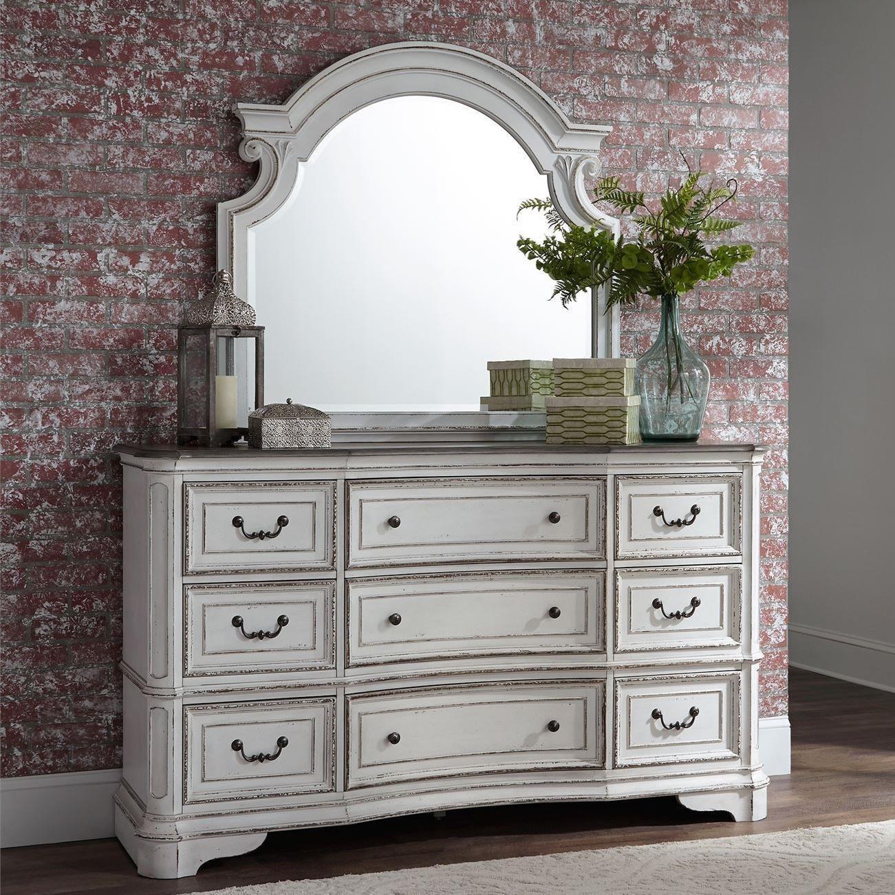 Magnolia Manor 9 Drawer Dresser and Mirror by Liberty Furniture at Bullard Furniture