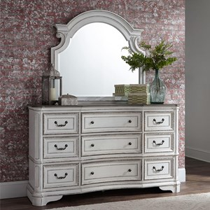 Relaxed Vintage 9 Drawer Dresser and Mirror Set