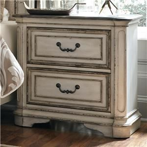 2 Drawer Nightstand with Top Felt-Lined Drawer