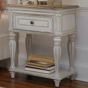 One Drawer Nightstand with Storage Shelf