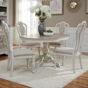 5 Piece Table Set with Upholstered Splat Back Chairs