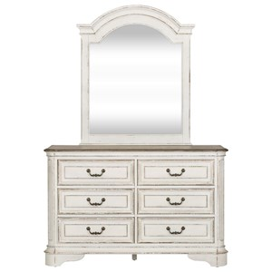 Traditional 6 Drawer Dresser and Mirror